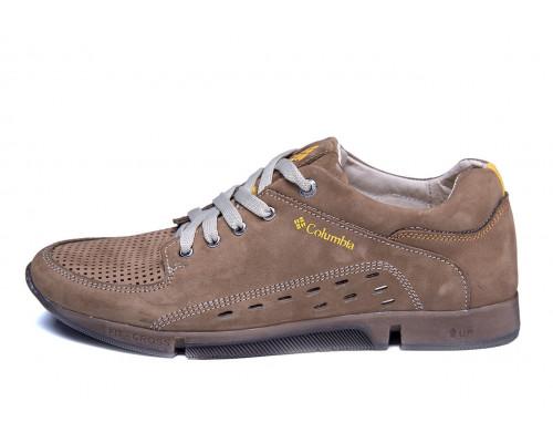 Мужские кожаные летние кроссовки, перфорация Columbia Latte