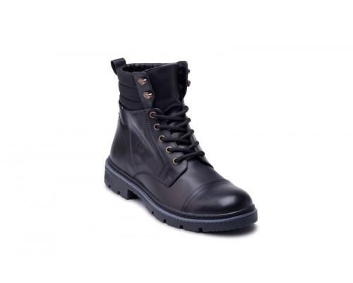 Мужские кожаные зимние ботинки Bastion black 18044ч
