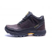 Мужские зимние кожаные ботинки Ecco Active Drive Brown