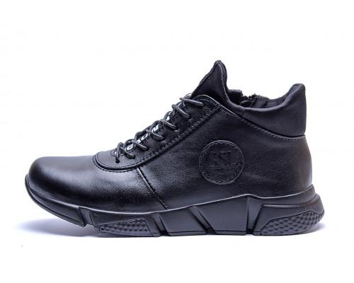Мужские зимние кожаные ботинки ASL Black New Line