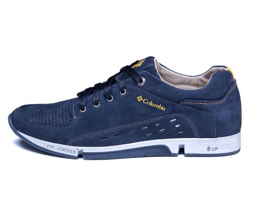 Мужские кожаные летние кроссовки, перфорация Columbia Blue