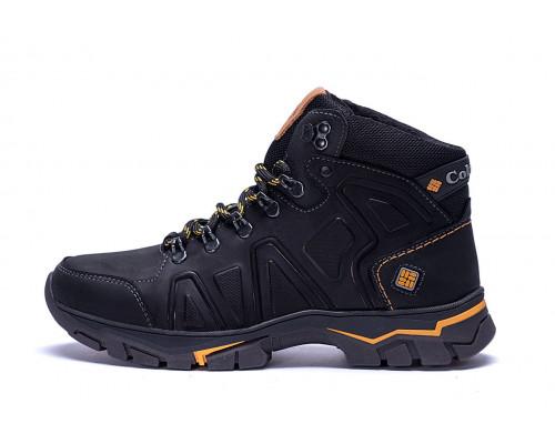 Мужские зимние кожаные ботинки Columbia Black
