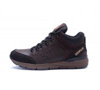 Мужские зимние кожаные ботинки CATERPILLAR Chocolate