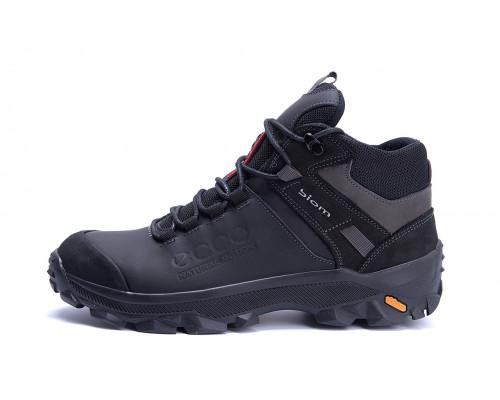 Мужские зимние кожаные ботинки Ecco biom e18 чёрные