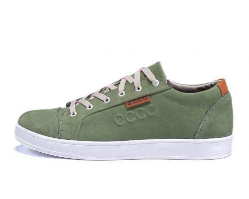 Мужские кожаные кеды Ecco Soft Men Green