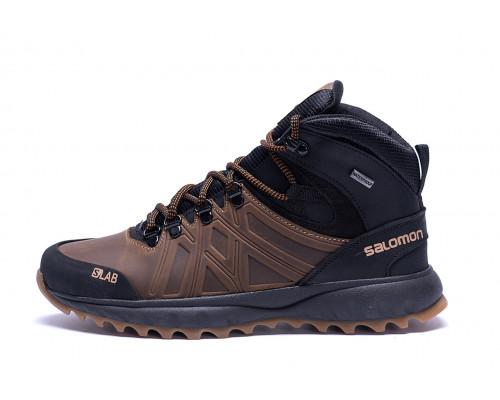Мужские зимние кожаные ботинки Salomon SLAB Olive