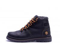 Мужские зимние кожаные ботинки Black W Т1 черные