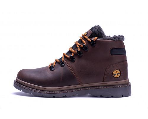 Мужские зимние кожаные ботинки Chocolate W Т1 коричневые