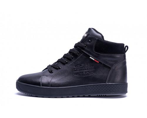 Мужские зимние кожаные ботинки Tommy Hilfiger Black X-20