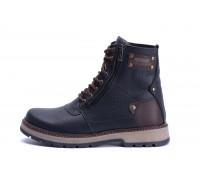 Мужские зимние кожаные ботинки ZG Black Flotar Military Style