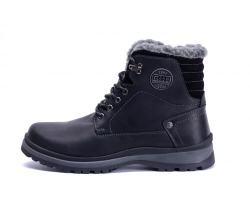 Мужские зимние кожаные ботинки ZG Clasic Black Style