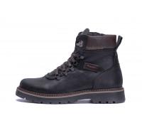 Мужские зимние кожаные ботинки ZG Black Military Style