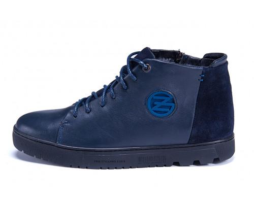 Мужские зимние кожаные ботинки ZG GO GO Man Blue