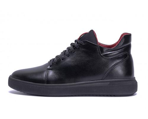 Мужские зимние кожаные ботинки ZG Black Red Premium Quality