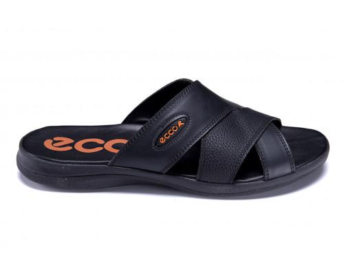 Мужские кожаные летние шлепанцы-сланцы Ecco Biom Black