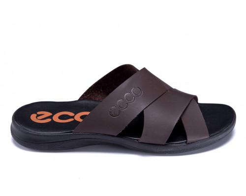 Мужские кожаные летние шлепанцы-сланцы Ecco Biom Brown