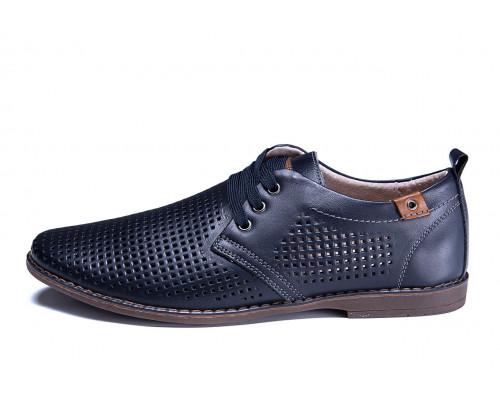 Мужские кожаные летние туфли, перфорация, KungFu blue