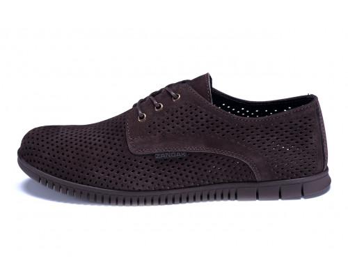 Мужские кожаные летние туфли, перфорация ZG Man Brown