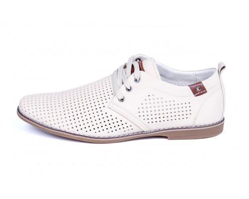 Мужские кожаные летние туфли, перфорация, KungFu beige