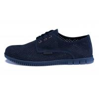Мужские кожаные летние туфли, перфорация ZG Man Blue